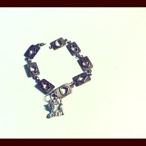 .925 Six inch, Cat Charm, Square Card Bracelet